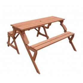 Mesa picnic transformable en banco madera