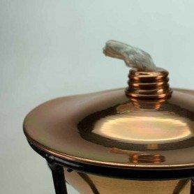Antorcha de acero de pie, con lata cobre 30.5 cm