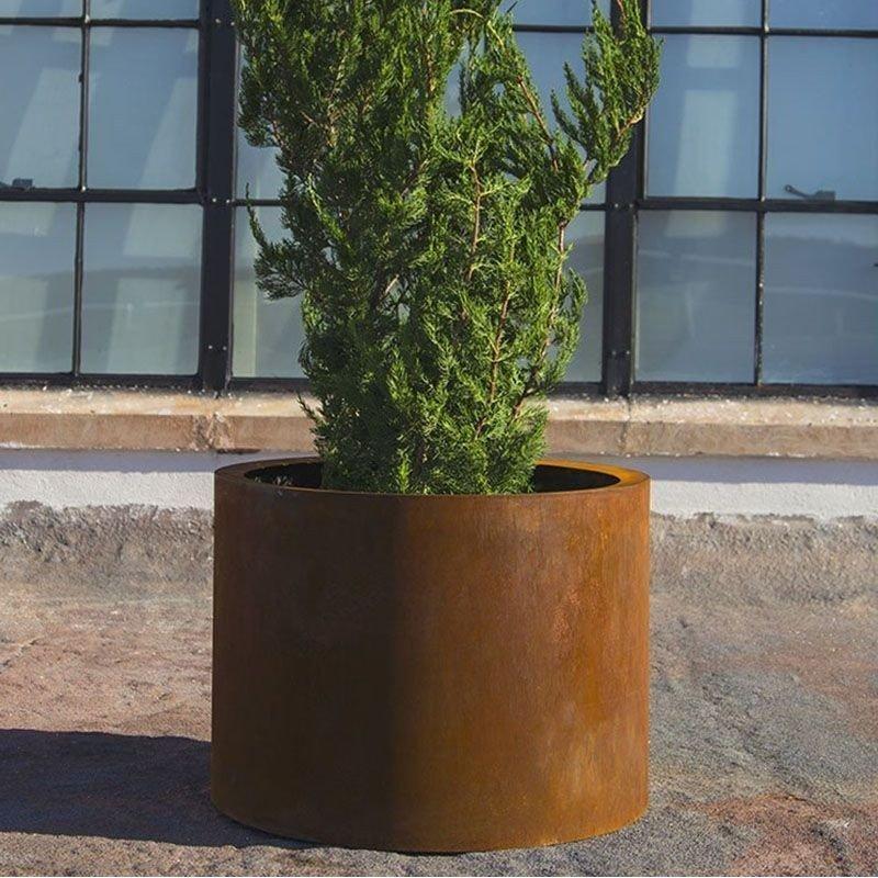 Jardinera acero corten cilindrica
