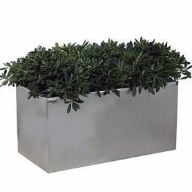 Jardinera de acero inoxidable rectangular -