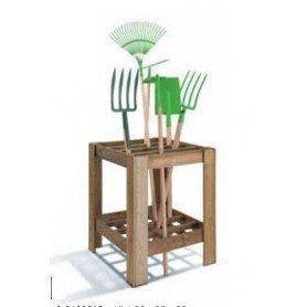Organizador de madera para herramientas de cultivo