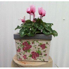 Tiesto cuadrado ceramica mediano rosas