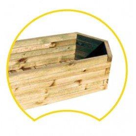 Jardindera de madera bexagonal