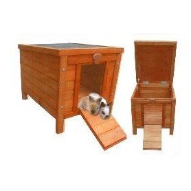 Caseta de madera para conejos techo abatible