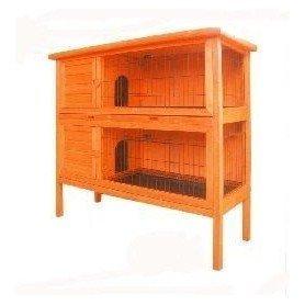 Caseta de madera para conejos doble