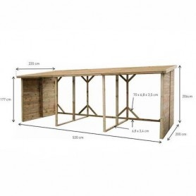 Leñero de madera XXL