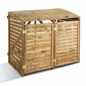 Protector de madera para contenedores de basura