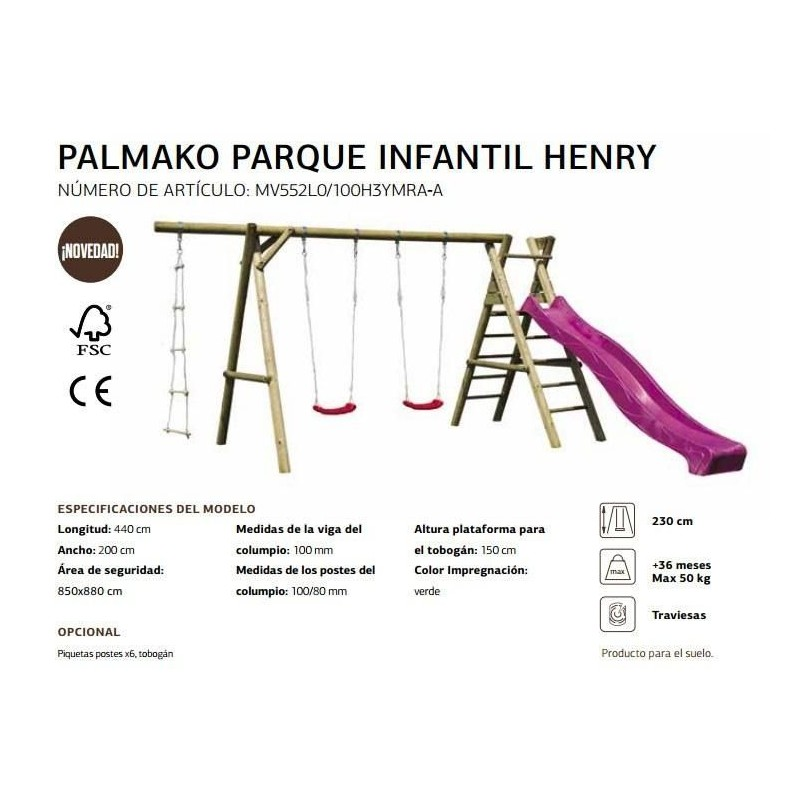 Palmako Parque infantil Henry (Single) FSC Mix Credit